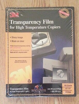 NEW 3M Transparency Film PP2950 for High Temperature Copiers 100 Sheets 8.5 x 11