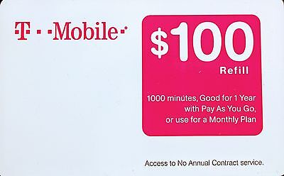 TMobile - $100 Prepaid Refill Card -New and unscratched