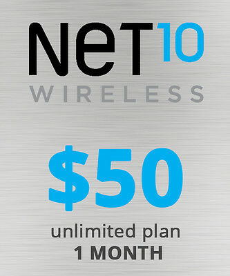 Net10 Wireless $50 Unlimited 30D Plan 8Gb Service Card