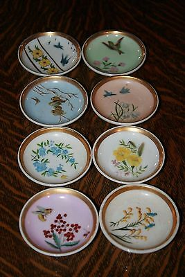 "8 Antique Butter Pats, 4 Birds, 4 Flowers, China 4"" plates, NICE"
