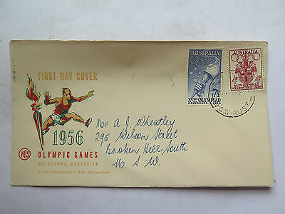 WCS FIRST DAY COVER MELBOURNE 1956 OLYMPIC GAMES 4 & 7 1/2 p STAMP 31 Oct 1955