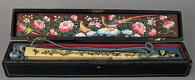 Fine Antique Chinese Mandarin Hand Fan 1000 Faces With Box And Inlaid Handle