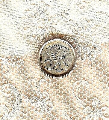 Antique Vintage Signed Tiffany & Co. Sterling Button W/ Engraved Initials