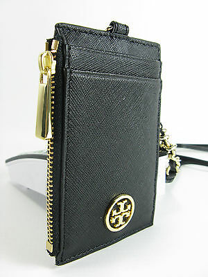 b909048ab6d5 NWT TORY BURCH Robinson Lanyard Coin Purse in Leather Black  115 ...
