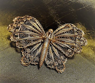Vintage Artisan Sterling Silver 925 Medium Butterfly Brooch Lapel Purse Pin GUC