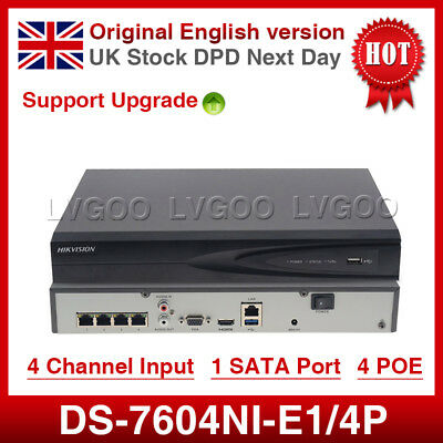 Hikvision 4CH  DS-7604N-E1/4P Ultra HD 4K UHD Network NVR 8MP 4PoE Recorder NVR