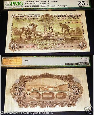 1929 PLOUGHMAN 5 POUNDS .PMG 25 .IRELAND -EIRE BANK OF IRELAND (first issue)