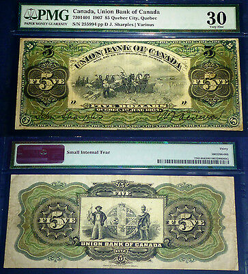 2nd BEST KNOWN , 1907 $5 Union Bank of Canada  PMG 30.SCARCE QUEBEC ISSUE