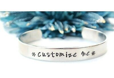 2 x Personalised Hand Stamped Message Sister Friendship Couple Bangle Bracelet