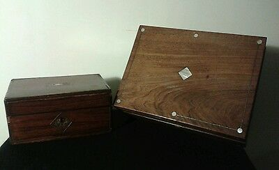 Antique Victorian Mother of Pearl Inlaid Wooden Box Lot 2 Sewing Hand Made VTG