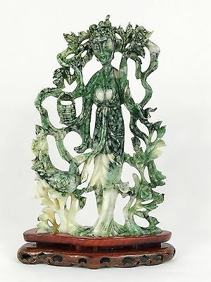 Large Qing Dynasty Spinach Jade Carved Quanyin Kwan yin Guanyin Bird Statue