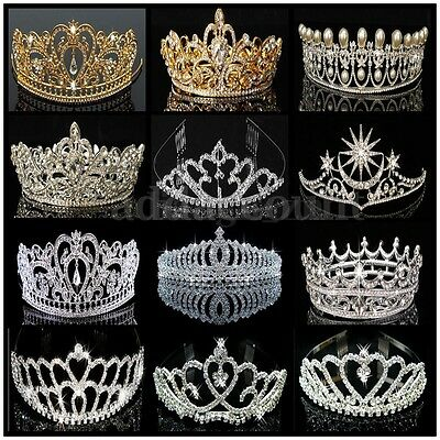 Princess Crystal Prom Hair Tiara Stunning Wedding Bridal Crown Veil Headband