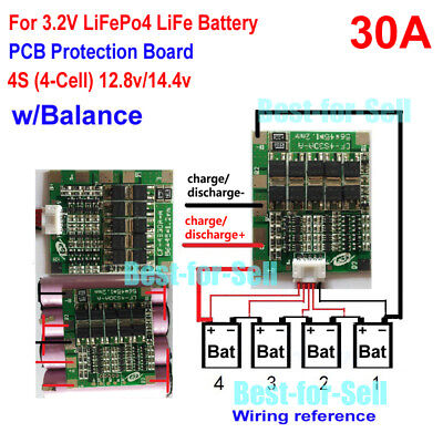 4S 30A 12.8V BMS Protection PCB Board w/ Balance For 18650 LiFePo4 LiFe Battery
