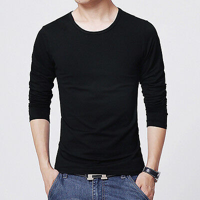 Men Slim Fit Long Sleeve Shirt T-shirt Tee Shirt Casual Round Neck Top Healthy