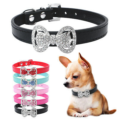 Cute PU Leather Small Dog Puppy Collar Bling Rhinestone Bowknot Chihuahua Collar
