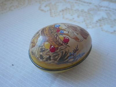 vintage French metal pill box / trinket box collectible