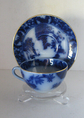 Flow blue tea cup and saucer - Earthenware Sacavem Portugal