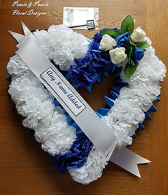 Large Artificial Silk Flower Funeral Open Heart Wreath Blue White Tribute