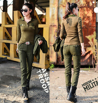 Women Leisure Breathable Uniform Slim Hiking Army Green Straight Outdoor Pants
