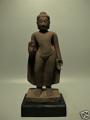 Antique Buddha Sculpture Sandstone Mon Dvaravati Figure Artifact 16/17Th C