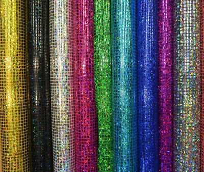 "Sequin Hologram Square Fabric Shiny Sparkly Fancy Dress Dance Material 44"" Width"