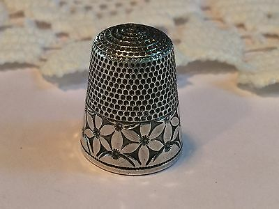 Antique Sterling Silver Simons Bros. Thimble Flowers - RARE