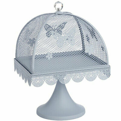 Blue Butterfly Large Display Metal Cake Stand with Mesh Lid Cover 24 cm