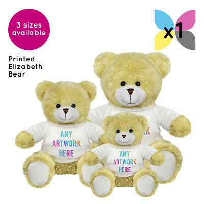 1 Personalised Elizabeth Teddy Bear Promotional Logo Text Photo Printing Gifts