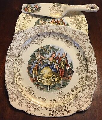 Vintage Dessert Set Of 6 The Paden City Pottery Co. Colonial Theme 22 Kt Gold