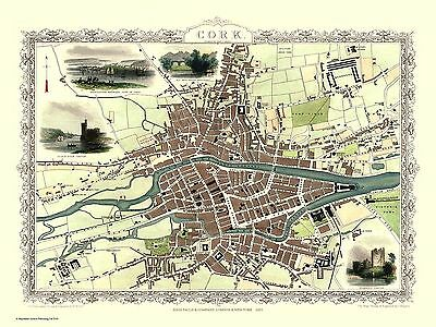 "John Tallis Map of Cork - Ireland - 1851 - 24"" x 16"" Photo Print"