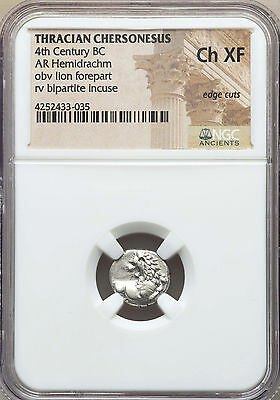 THRACE Chersonesus Ca 4th century BC AR hemidrachm NGC Choice XF edge cuts