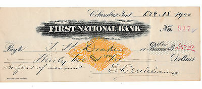 The First National Bank,  Columbus, Indiana  1900 W/revenue