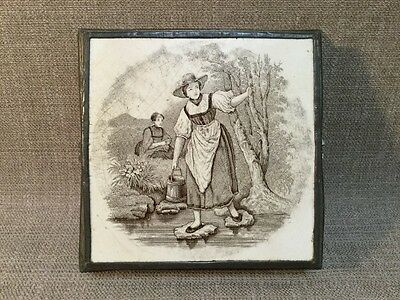 Antique 19th C Minton framed tile Trivet Country Maiden Fetching Water 6""