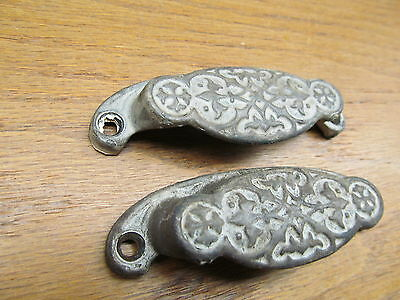 """Pair Of Old Drawer Pulls Ornate """"as Found"""""""