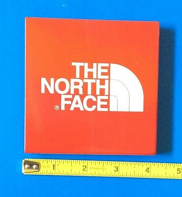 "THE NORTH FACE SKI AND SPORTSWEAR ADVERTISING STEEL METAL SIGN 4"" square"