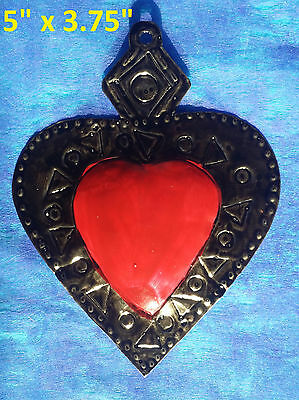 Wall Art Mexican Handmade Painted Tin Ornament Heart Milagro Red 3 for $22