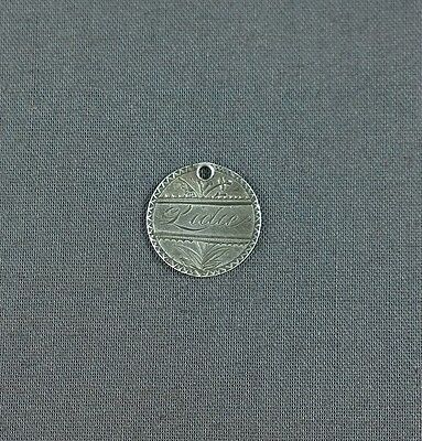 Antique Silver Love Token Engraved Name Lidie 1853 Seated Liberty Half Dime
