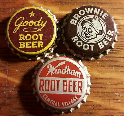 3 diff ROOT BEER soda bottle caps unused cork goody brownie windham