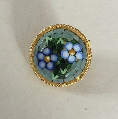 Glass Mosaic In Metal Blue Flowers Vintage Button Old