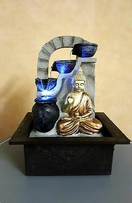 Juliana Buddha Water Fountain with LED light - Indoor Water Feature 240v Mains