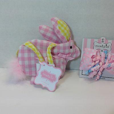 Mud Pie  BUNNY CHICK PURSE & HAIR BOW Baby Girls Pink Gingham Check NWT GIFT SET