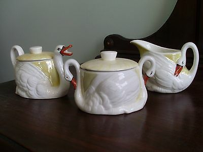 Antique Czech Porcelain Swan  Creamer, Sugar, Teapot