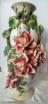 "Large Italian Barbotine Majolica  21"" Vase  Decorated with Roses"