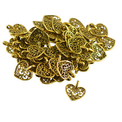 50pcs Vintage Charms Filigree Hollow Heart Pendant diy Jewelry Making Crafts