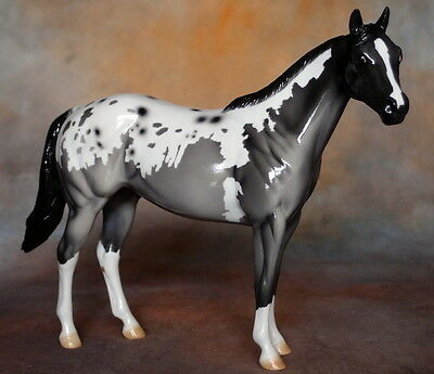 Peter Stone Model Horse -- OOAK Blue Roan Blanket Appaloosa Stock Horse