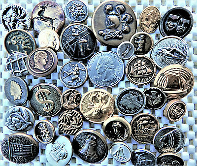 Keepers Lot of 36 Pc. Collectible Metal Picture Vintage Antique Modern Buttons