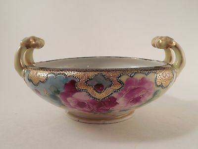 Hand Painted Vintage Floral Pattern Gold Painted Handled Bowl Antique Unmarked