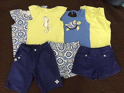 Gymboree Girls 4 Nordic Sleeveless Tops And 3 Blue Shorts Size 8 Great Condition