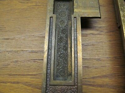 "Old Russell Erwin ?? "" Damascene "" Brass ? Bronze ? Door Lock Strike Plate Nice"