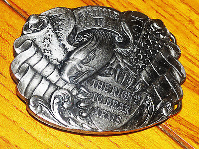 """Article Ii """"the Right To Bear Arms"""" Belt Buckle  No. 1017 - Heavy - 7.4 Oz."""